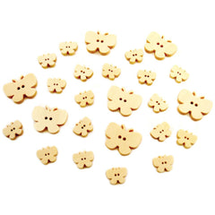25 Wood Butterfly Buttons, Various Sizes