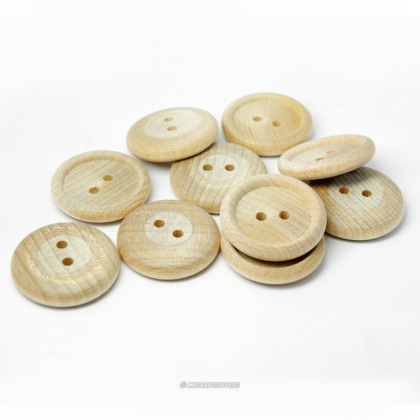 Natural Wood Buttons 7/8 Inch