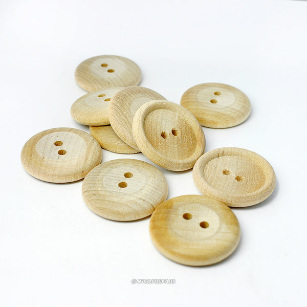 Natural Wood Buttons 1 Inch