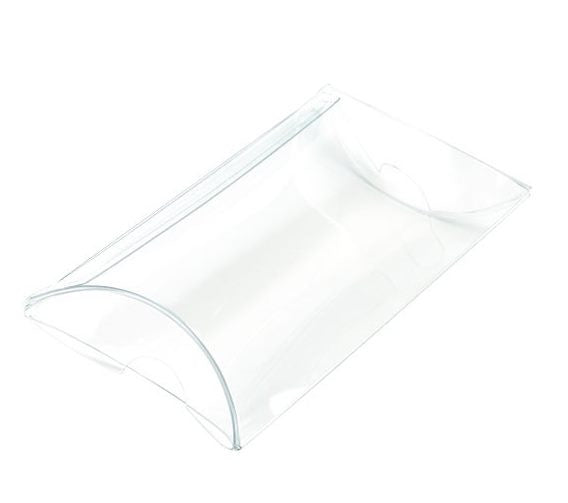 25 Crystal Clear Pillow Boxes 2 x 3/4 x 3 Inches for Gifts, Retail Packaging, Favors