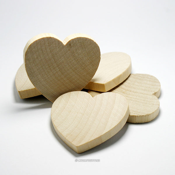 Set of 20 Thick Unfinished Wood Heart Cutouts 2 Inches Wide and 1/4 Inch Thick