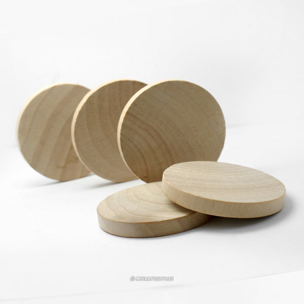Natural Wood Thick Circle Cutouts 2 Inch Wide 1/4 Inch Thick, Set of 25