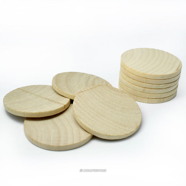 Natural Wood Thick Circle Cutouts 1 1/2 Inch Wide 1/8 Inch Thick