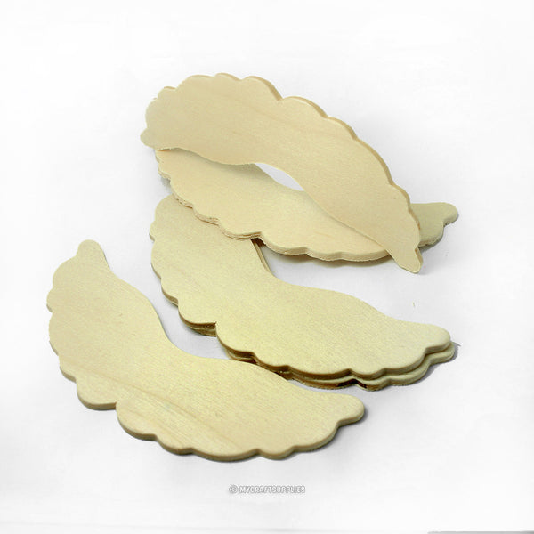 Natural Wood Angel Wing Cut-Out Shapes with Scalloped Edges Set of 25 - 2 1/4 Inches