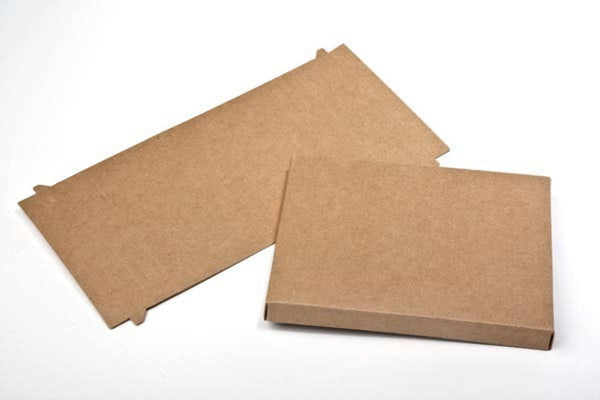 Flat Kraft Paper Box Bases + Clear Sleeves; 3 3/4 x 1 x 5 3/8 Inch Boxes for Greeting Cards, Photos, ETC