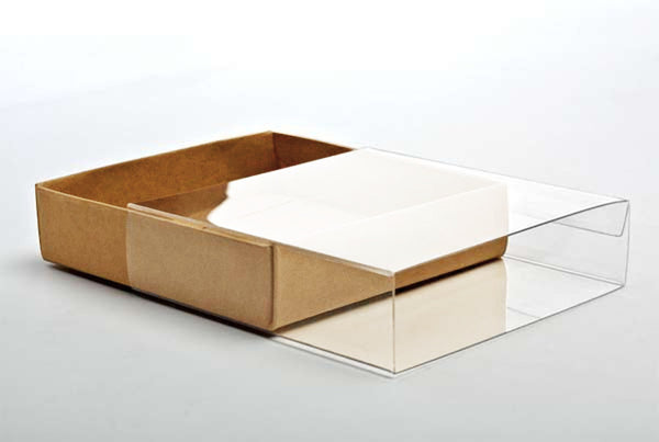 5 Flat Kraft Paper Box Bases + Clear Sleeves; 5 3/8 x 1 x 7 1/2 Inch Boxes for Photos, Greeting Cards, ETC