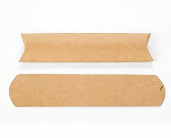 25 Long Brown Kraft Pillow Boxes 2 x 3/4 x 7 Inch for Gifts, Packaging, Embellishing