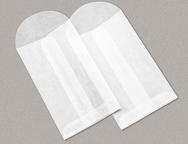 "100 Glassine Top Opening Envelopes 2 1/2 x 4 1/4 Inches (""No.3"" Size), with Round Flap"