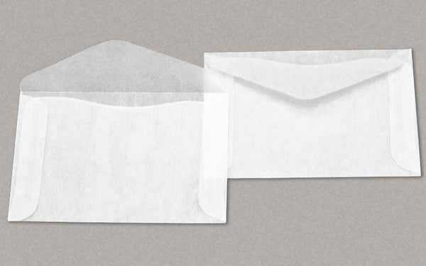 "100 Glassine Envelopes 2 -1/2 x 4 -1/4 Inches (""No.3"" Size) - Side Opening, V Flap"