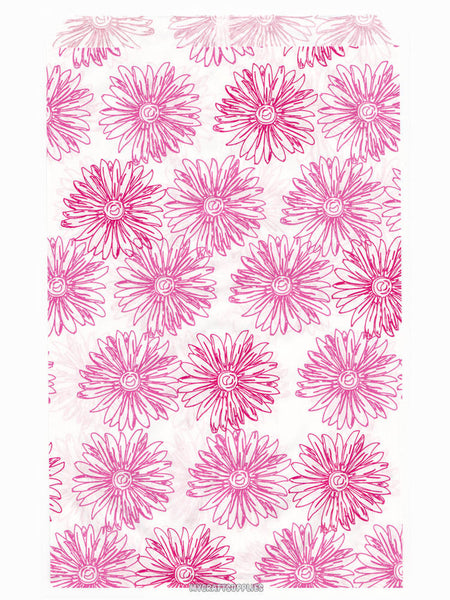 100 Pink Floral Paper Bags, Flat - 6 x 9 inches, Pink Flowers on White Paper