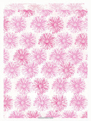 50 Pink Floral Paper Bags, Flat - 8.5 x 11 inches, Pink Flowers on White Paper