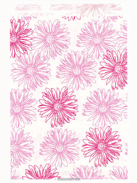 100 Pink Floral Paper Bags, Flat - 5 x 7 inches, Pink Flowers on White Paper