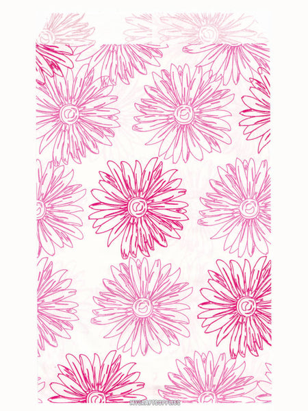 100 Pink Floral Paper Bags, Flat - 4 x 6 inches, Pink Flowers on White Paper