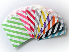 "Multi-Color Diagonal Stripe 2.75"" x 4"" Paper Bags"
