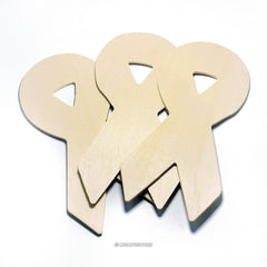 5 Natural Unfinished Wood Awareness Ribbons