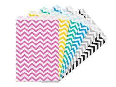 Flat Merchandise Paper Bags: Chevron Stripes on White [Choose Size / Color]