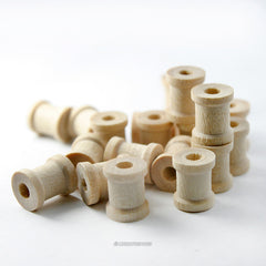 25 Tiny Natural Wood Spools 3/8 Inch Wide and 1/2 Inch Tall