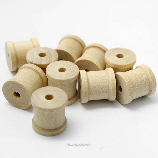 25 Mini Natural Wood Spools 1/2 Inch Wide and 1/2 Inch Tall