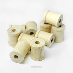 25 Small Natural Wood Spools - 5/8 Inch Wide and 3/4 Inch Tall
