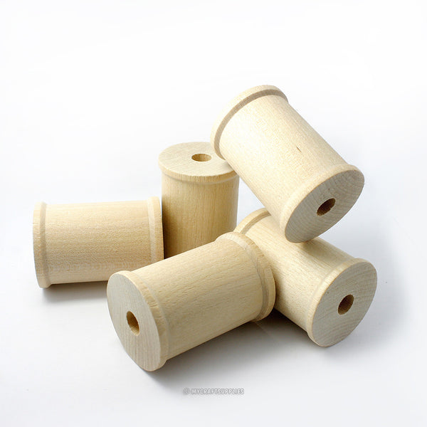 Larger Natural Wood Spools 2 1/8 Inch by 1 1/2 Inch