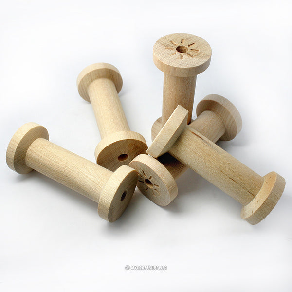 "Slender Unfinished Wood Spools 2 3/4 x 1 1/4 inches, Perfect for 2"" Ribbon, Made in USA"