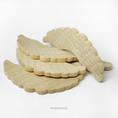 Natural Wood Angel Wing Cut-Out Shapes with Scalloped Edges Set of 10 - 4 Inches