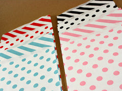 Multi-Color Large Paper Bags in Polka Dots or Stripes