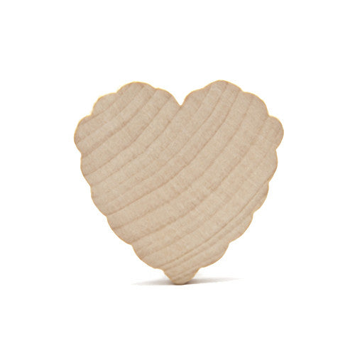 Scalloped aka Ruffled Solid Natural Wood Hearts, 2 Inches High, 3/16 Thick