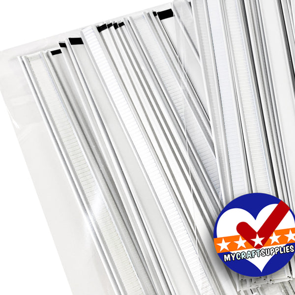 "100 White Tin Ties, NO ADHESIVE, Used for Face Mask Nose Bars, 4"" Long, 5/16"" Wide. Made in the USA"