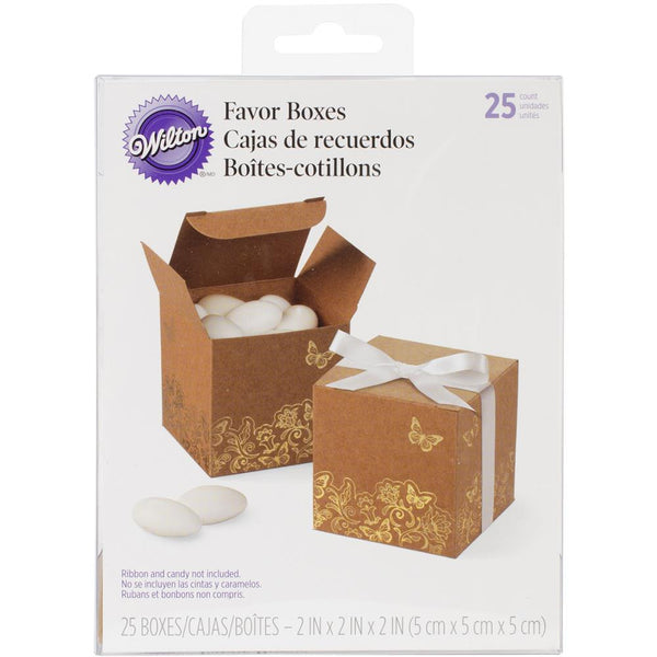 "Wilton: 25 Square Kraft 2"" Favor Boxes with Gold Foil Floral & Butterfly Design"