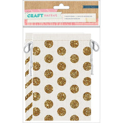 Gold Glitter Muslin Bags SET Polka Dots and Stripes w Drawstring for Packaging and Crafts