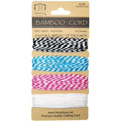 Hemptique Bamboo Bakers Twine Cord Card, 4 'Peony' Colors. 20lb, 120 Feet Total