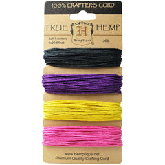 Hemptique: True Hemp Cord Card with 4 'Flirt' Colors. 20lb Twine, 120 Feet Total