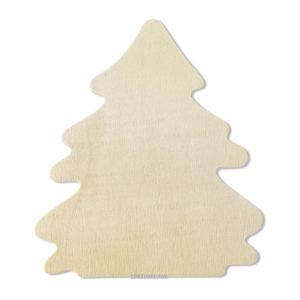 10 Wood Tree Cut-Outs, Unfinished Wood, Ready to Embellish for Holiday Crafts (4 1/8 Inches)
