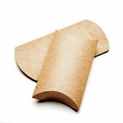 25 Brown Kraft Pillow Boxes; 4 x 1 1/8 x 6 Inches
