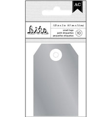 Silver Foil Decorative Cardstock Tags for Scrapbooks, Gifts, Crafts, Etc - Set of 10, 3 x 1 7/8