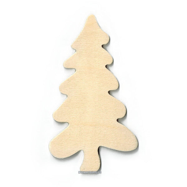 10 Wood Folk Art Tree Cut-Outs, Unfinished Wood, Ready to Embellish for Holiday Crafts (4 3/4 Inches)
