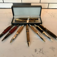 Hand-Crafted Reclaimed Oak Pen, Pencil, & Set