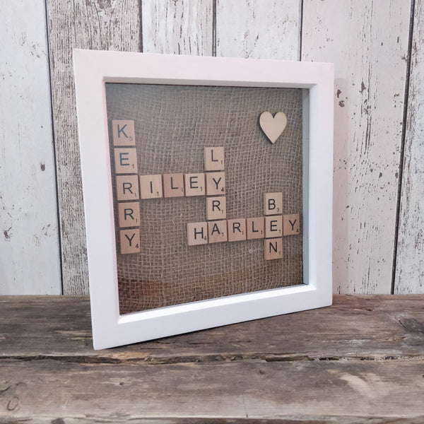 scrabble frame with names