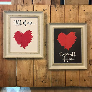 All of Me loves all of You - 2 Song Lyric Prints