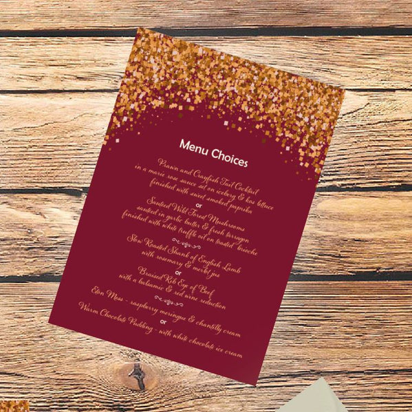 wedding invitation menu