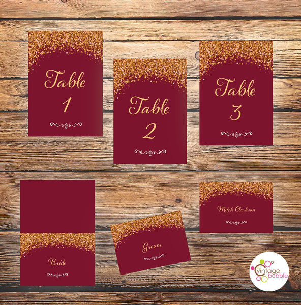 wedding invite table numbers burgundy