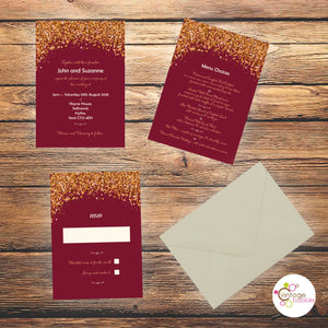 Burgundy Glitz Wedding Invites
