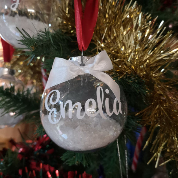 Personalised Christmas Bauble with name, snowflakes and ribbon