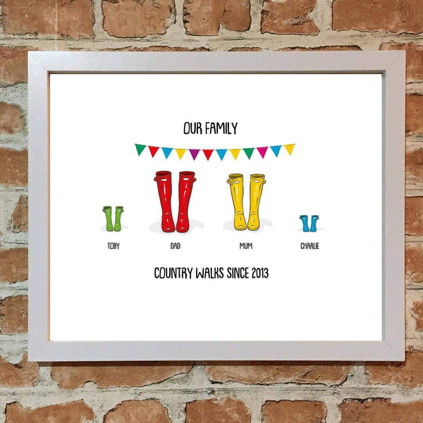 Welly Boot Family Print Frame
