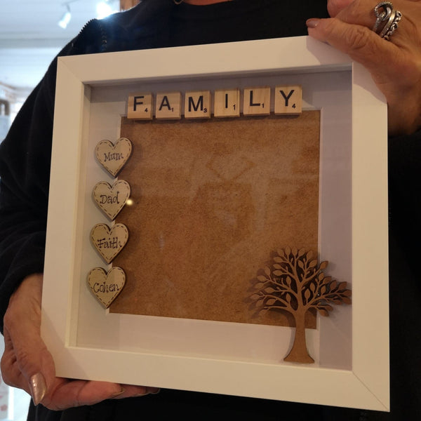 Personalised Family Scrabble and Rustic Hearts Photo Frame