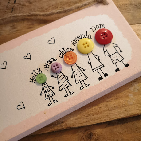 Personalised Button Family Plaque