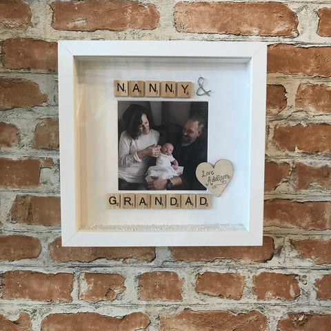 Nanny and Grandad Personalised Scrabble Photo Frame