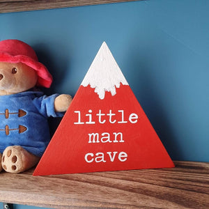 Little Man Cave wooden freestanding mountain