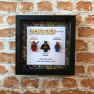 Lego Daddy Marvel Frame - Fathers Day